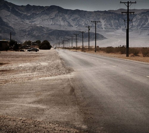 Desert Road And Mountains