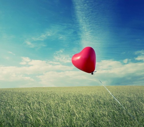Heart Baloon Flying In Air